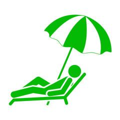 Icono aislado tumbona y sombrilla verde
