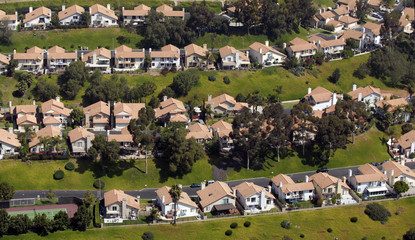 Aerial view of homes in San Diego, California