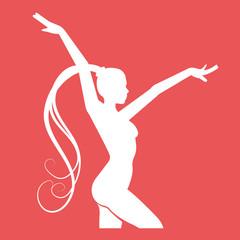 Fitness club emblem. Women doing rhythmic gymnastics exercise