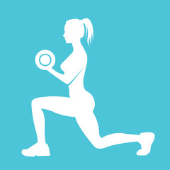 Fitness woman silhouette. Woman holds dumbbells doing exercise