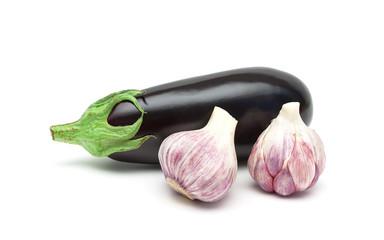eggplant and garlic close-up on white background