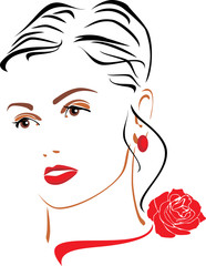 Portrait of a beautiful woman with a red rose on her neck