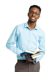 African american college student with books and bottle of water