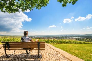 Spaziergänger blickt über den Rheingau
