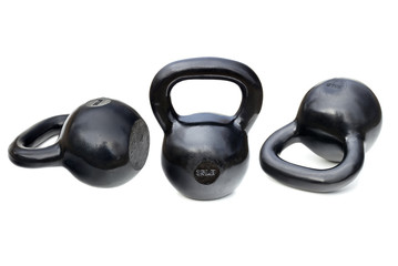 black shiny heavy kettlebells