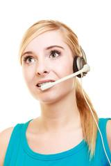 Customer service headset woman talking giving online help
