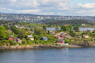 Cottages on the island in the Oslo fjord, Norway