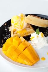 waffle with ice cream and mango