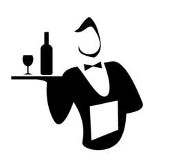 Силуэт официанта с подносом