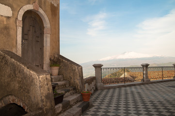 Mount Etna seen from the panoramic square of Castelmola