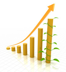 Growth chart with young plant, 3d render