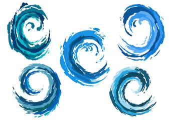 Blue rounded sea waves set