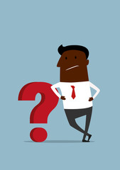 Cartoon african businessman leaning on red question mark