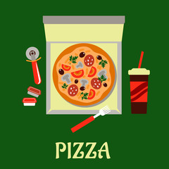 Takeaway pizza and soda drink
