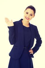 Business woman waving