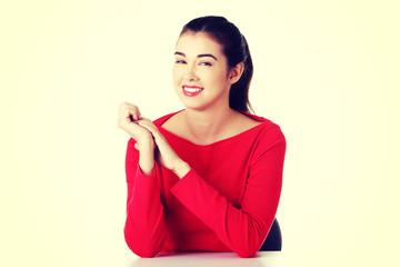 Smiling woman sitting