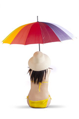 Woman with swimsuit and umbrella