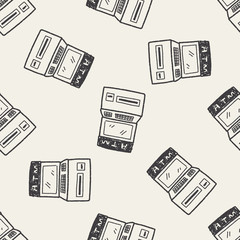 ATM doodle drawing seamless pattern background