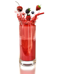 berry drink in a glass isolated on white background