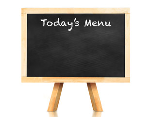 Today's menu word on blackboard with easel and reflection on whi