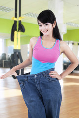 Successful woman lose her weight