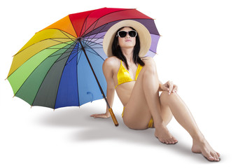 Sexy woman with colorful umbrella