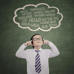 Male student studying multilanguage 1