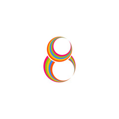 Eight 8 logo, abstract colored rings, infinity symbol