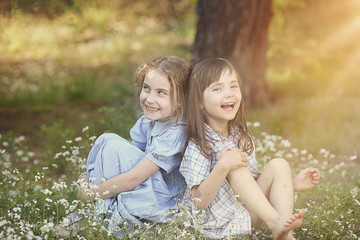 summer friendship - the two amused young girls