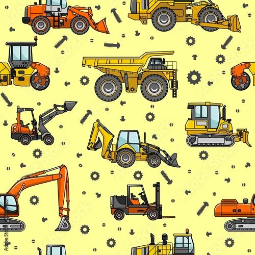 Foto op Plexiglas Op straat Heavy construction machines seamless pattern