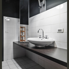 detail of washbsin in the modern bathroom
