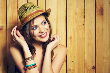 Portrait of woman in  Country style. Smiling young female  mode