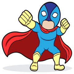 A cartoon illustration of a superhero