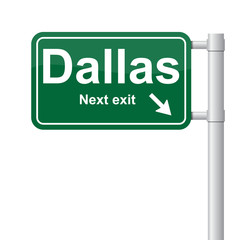 Dallas next exit green signal vector