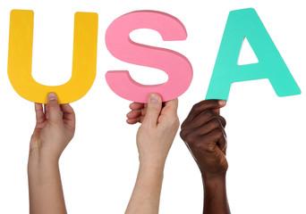 Multikulturell People Gruppe halten das Wort USA