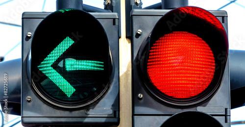 Leinwanddruck Bild Ampel mit Rotlicht und Grünlicht