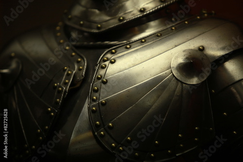 Poster Ancient medieval armor crusader close to