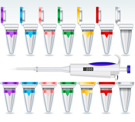 Eppendorf Opened and Closed Multicolor Set and Micropipette