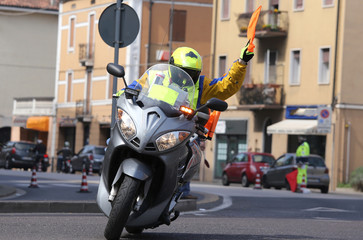 motorcycle escort technique during the sporting event