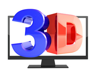 Modern TV with 3d effect on screen