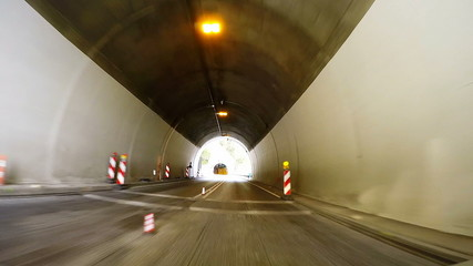 Fast Car driving through tunnel ucka, full HD video footage