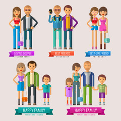 people vector logo design template. happy family or friends