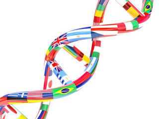 flags of different countries in the form of DNA