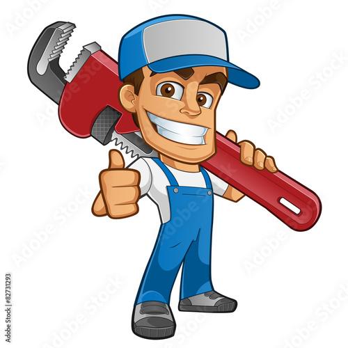 Fontanero con ropa de trabajo llevando una herramienta - Herramientas de fontanero ...