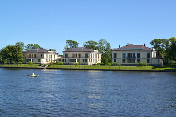St. Petersburg. The cottage settlement on the bank of the river
