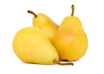 Three whole yellow pears (isolated)