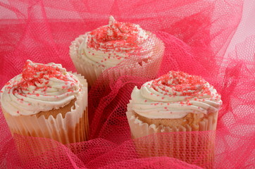 Cupcakes with Pink Icing and Sprinkles