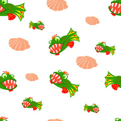 Vector illustrated seamless pattern of colorful fish.