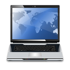 Vector laptop with map on the desktop