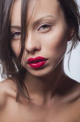 Portrait Beauty women with red lipstick